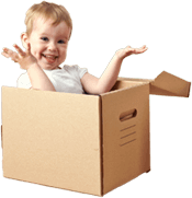 image of a smiling baby sitting in a box