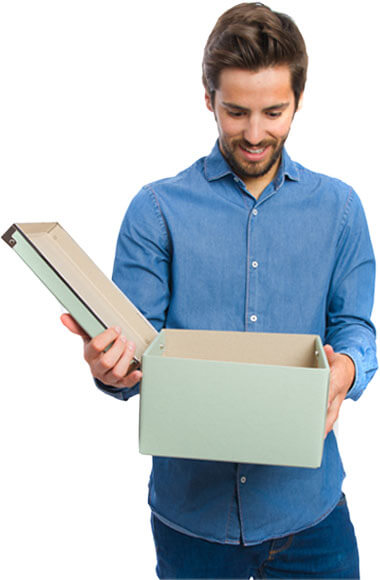 image of a man looking happily surprised by opening a box