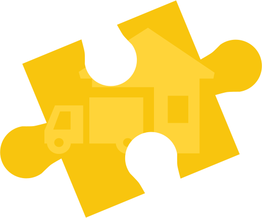 illustration of a yellow jig representing a van next to a house