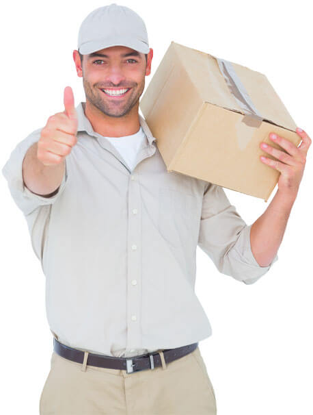 photo of a mover giving a thumbs up while holding a box on his shoulder