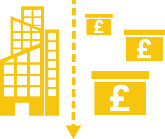 yellow illustration of a business building and dropping prices