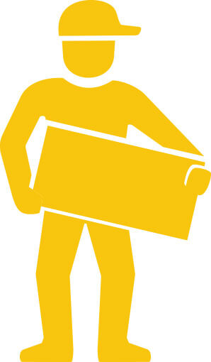 yellow illustration of a worker carrying a box