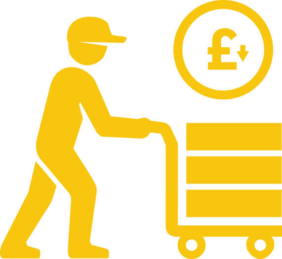 yellow illustration of a worker pushing boxes on a cart displaying reliability and best pricing