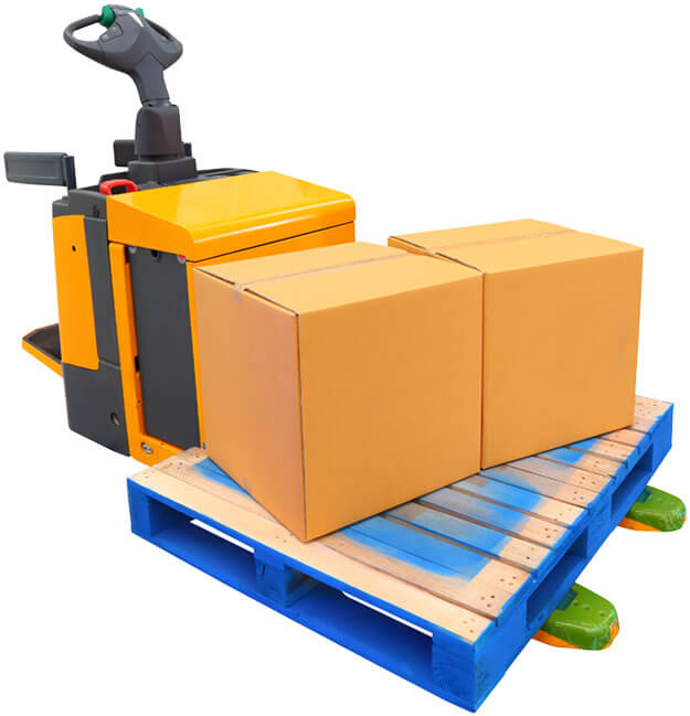 photo of a small forklift carrying a pallet with two boxes on top