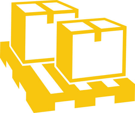 yellow illustration of boxes on a pallet