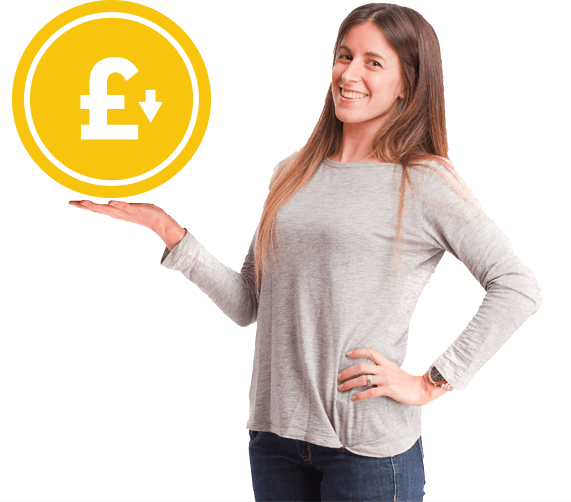 photo of a happy woman holding a big coin representing the best prices in the business