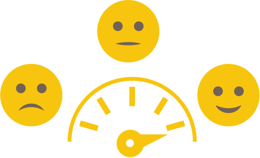 yellow illustration of a happiness meter
