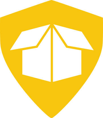 yellow illustration of a shield with a box in it