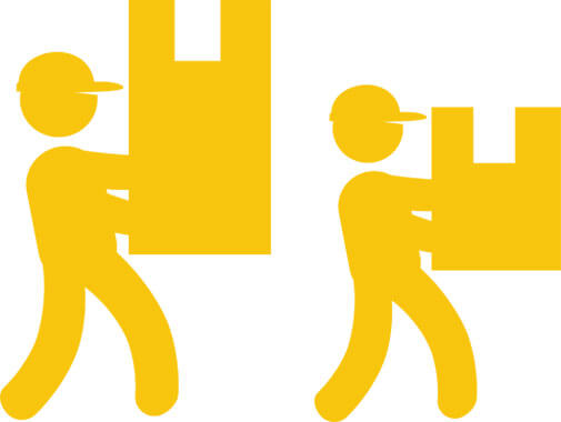 yellow illustration of two workers carrying a box each