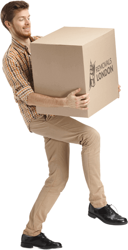a guy carrying a cardboard box