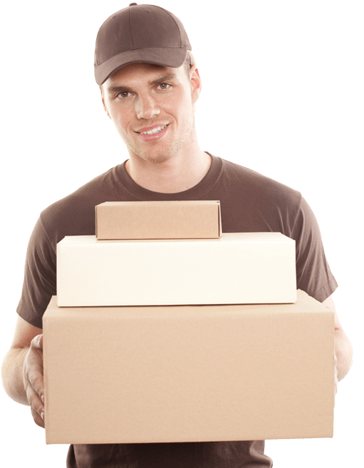 photo of a mover carrying three stacked boxes while smiling
